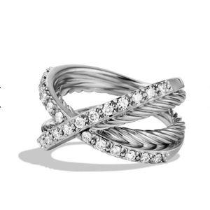 David Yurman Crossover Pavé Diamond Ring 💍 sz 7